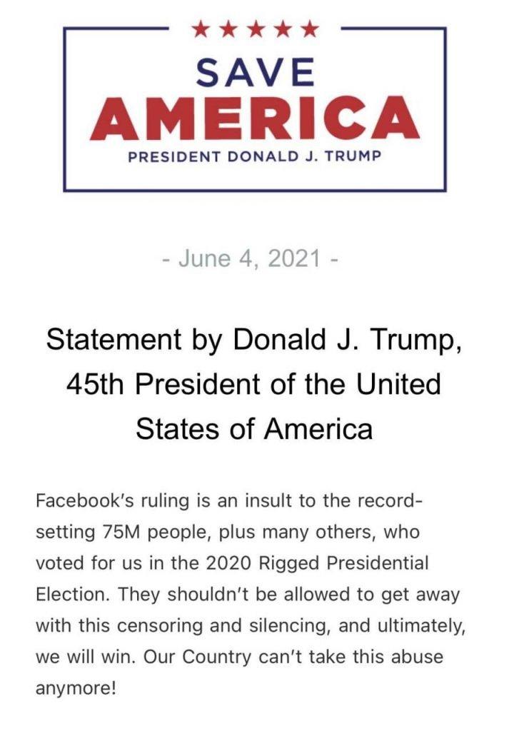 Statement Trump