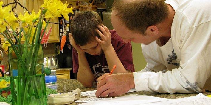 parent child homework dad father boy