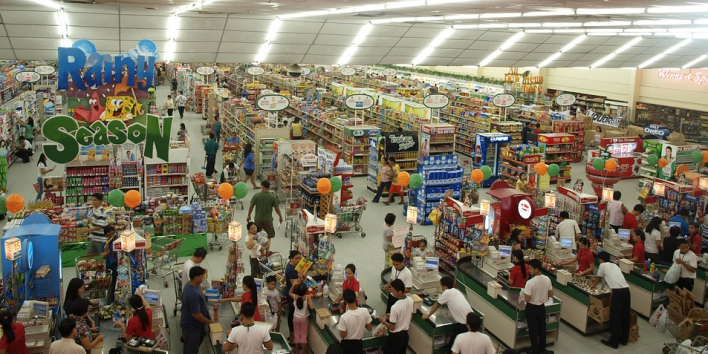 supermarket crowded people shopping