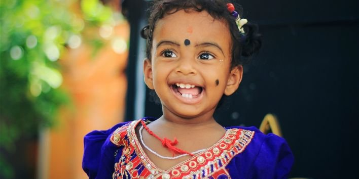 india little girl happy smile