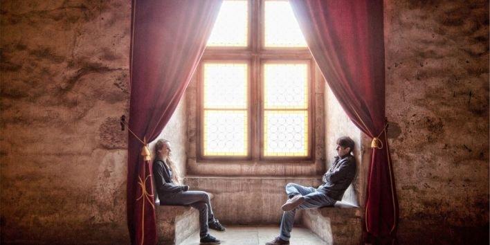 couple conversation talk sit