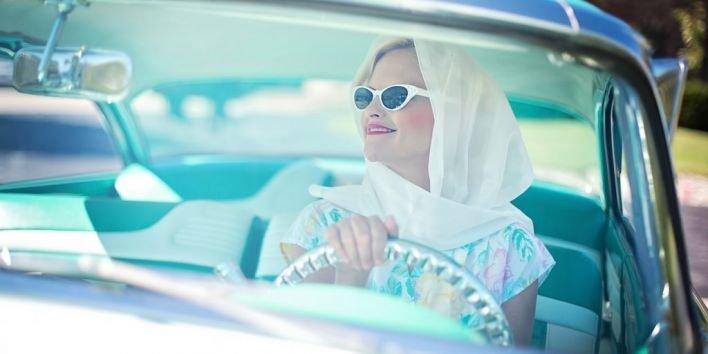 car vintage woman drive ride